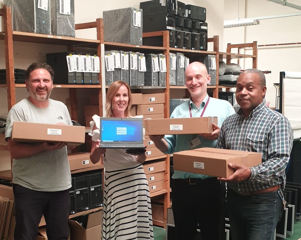 Black Country Housing Group collect the first batch of repurposed laptops from Repc Ltd to distribute to households across the Sandwell Borough.